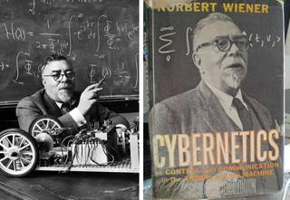 "Norbert Wiener, 1948<br/> <h3>CYBERNETICS: <br/>or CONTROL<br/> and COMMUNICATION<br/> in the ANIMAL<br/> and the MACHINE</h3>written by Norbert Wiener and published in 1948. It is the first public usage of the term ""cybernetics"" to refer to self-regulating mechanisms. The book laid the theoretical foundation for servomechanisms (whether electrical, mechanical or hydraulic), automatic navigation, analog computing, and reliable communications.<br/><br> <a href=""http://en.wikipedia.org/wiki/Cybernetics:_Or_Control_and_Communication_in_the_Animal_and_the_Machine"">source wikipedia</a>"